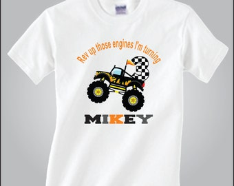 Personalized Black Monster Truck Birthday Shirt