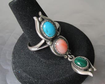 Vintage 1980's Native American Turquoise, Coral, Malachite Sterling Silver Vintage Dangle Ring, Size 9