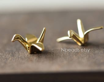 10pcs Origami Paper Crane Charms, Real Gold plated Brass Bird Beads 24mm, with A Hole Drilled Through (GB-072)