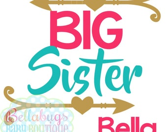 Big Sister or Little Sister Arrows IRON ON TRANSFER- Tshirt - Bodysuit - Tote Bags
