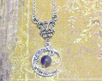 Necklace: in the Moon (genuine Amethyst.)