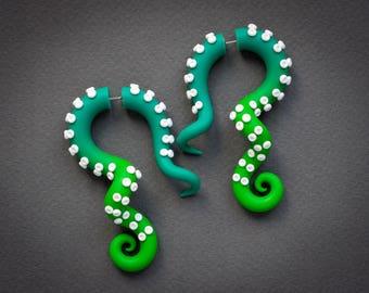 Poison Ivy Costume Tentacle Earrings, Fake Gauges, Octopus Earrings, Zombie Ear Gauges, Ear Plugs, Faux Gauges, Fake Plugs