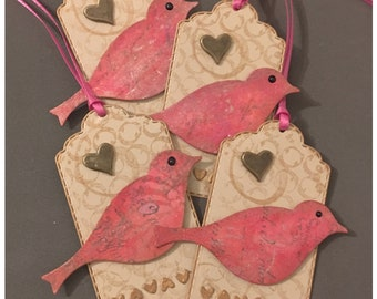 Mixed Media Handmade All Occasion Gift Tags Boho Bird Metallic Heart Charm Copper Gilded set of 4