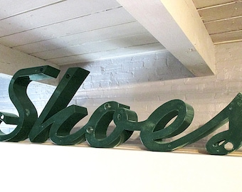 Vintage Store SHOE Sign, 1940's /50's Channeled Metal Sign, Vintage Shoes, Large Signage, Shoe Store Sign, Old Store Sign, Metal Store Sign