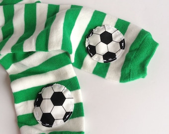 Soccer Baby Warmers Green and White Stripe Baby Leg Warmers