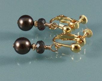 Clip on earrings, screwback, Swarovski Brown pearls and Crystazzi Smoke GP clip earrings