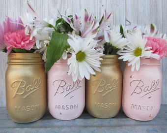 Painted Ball Mason Jars-Flower Vases- Matallic Gold Glitter and Blush-Light Pastel Pink- Distressed/Rustic/Wedding/Baby Shower/Centerpieces