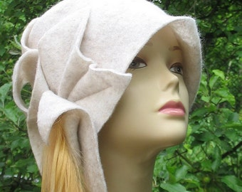 White wool Cloche hat 1920s Flapper Hat art deco hat couture cloche 20's Accessories Women's Hat Fashions Kentucky Derby Hat Racing Fashion