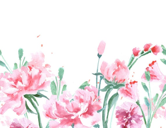 Watercolour flower background clip art digital download png - High resolution watercolor flowers ...