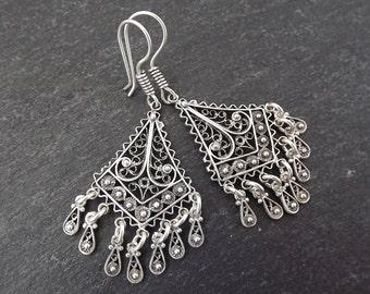 Diamond Fan Shaped Telkari Dangly Silver Ethnic Boho Earrings - Authentic Turkish Style