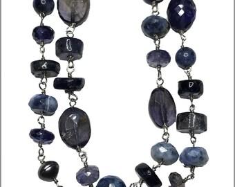 Sapphire Iolite Gemstone Necklace