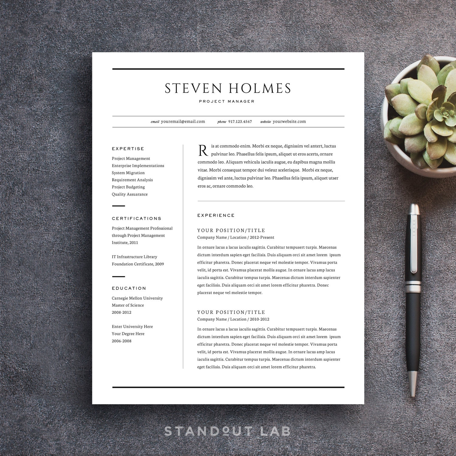 🔎zoom  Stand Out Resume Templates