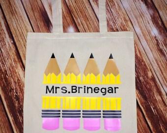 Teacher Tote Bag | Personalized Tote Bag | Reusable Shopping Bag | Teacher Book Bag | Teacher Gift | Book Bag | Gift Bag | Pencil Bag