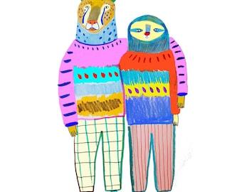 Best Friends forever by Ashley Percival. children's illustration art print