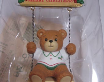 Christmas Ornament, Vintage 1991 Enesco Dated Teddy Bear Christmas Ornament, Enesco Christmas Swingtime Ornament