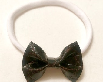 Brown Faux Leather Bow