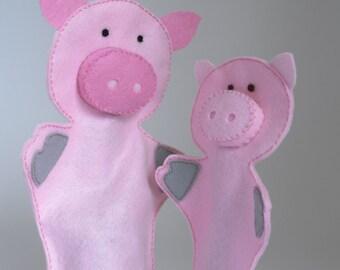 Pig puppets, hand puppet, hand puppets for children, puppet set, hand puppet set