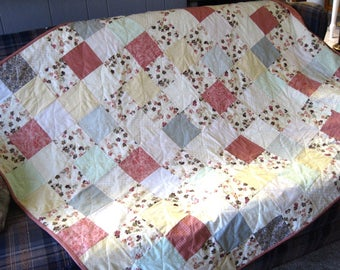 Custom Twin Size Patchwork Quilt, Lap Quilt, Couch Throw, Wheelchair Quilt, Mothers Day Gift, Wedding Gift, Farmhouse decor, Pastel Heirloom