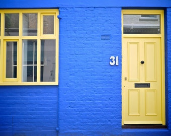 Yellow Door Print - London Photography - Notting Hill - Blue House