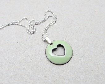 Green Heart Necklace - Enamel Pendant with Delicate Sterling Silver Chain - Jewelry Gift for Women