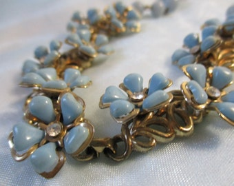 Blue Flowers with Rhinestone Centers Metal and Plastic Beads Necklace,Hook Clasp