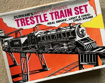 Vintage Durham's Battery Operated Trestle Train Set w/ Box