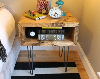 Yankee Nightstand, Rustic, Mid Century, Industrial, Cubby, Storage, Side Table