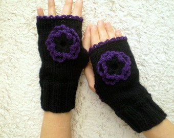 Flowered Fingerless Gloves, Black Gloves, Knit Fingerless Mittens in Black Purple