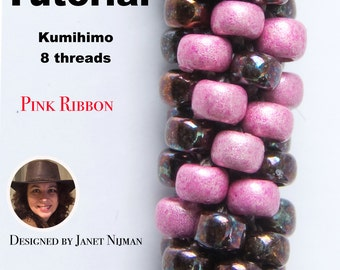 Kumihimo patterns tutorial Pink Ribbon