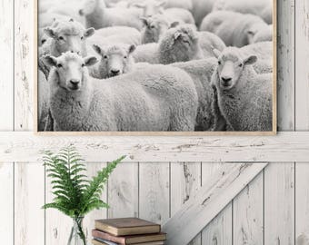 Sheep Print/ Bedroom Wall Art/ Printable Art/ Black and White/ Farmhouse Decor/ Sheep Poster/ Over Bed Art/ Farm Animal Print/ Farm Wall Art