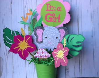 Gray and pink elephant centerpiece, elephant baby shower decor, safari themed birthday party, safari baby shower, it's a girl