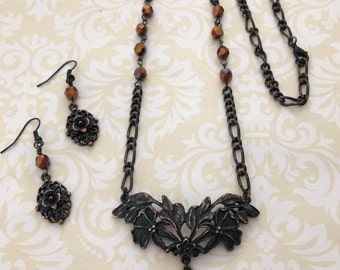 B'sue by 1928 Jewelry, Tropical Floral Necklace,  Rusted Iron Pewter, Handmade Jewelry, Vintage Style