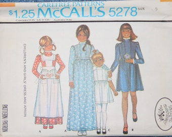Laura Ashley Dress and Apron 1970s Vintage Sewing Pattern MCCALL'S 5278, Size 5