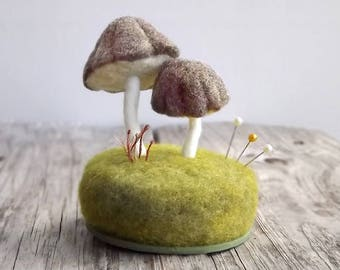 Miniature Mushrooms Pincushion Pin Cushion Woodland Scene - Needle Felted Sewing Table Decor Sewing Gift Made To Order