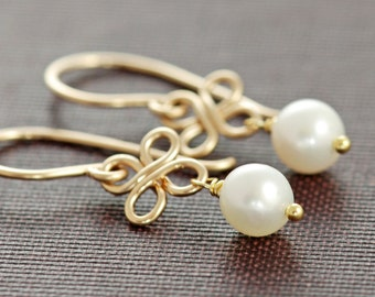 Earrings, Pearl Clover 14k Gold Fill, Bridal Jewelry, Dangle Wire Wrapped