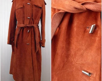1970s Suede Trench Coat, Vintage Burnt Orange Long Leather Jacket, Belted Trench by Danaya, Ladies Outerwear Tie Waist, Womens Size Large