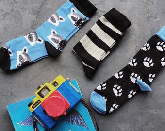 Raccoon Set of Socks for Men and Women, Stripe Socks, Pet Paw Socks, Socks for Him, Socks for Dad, Socks for Groom