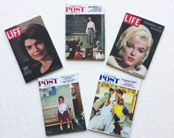 Miniature Magazines Life and Post 50s and 60s  Dollhouse 1:12 Scale