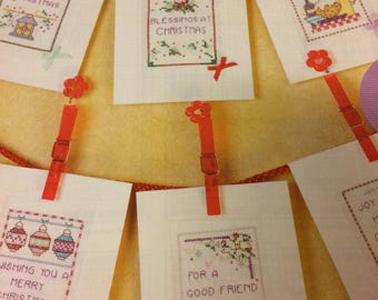 6 x Christmas Glad Tidings Cards Cross Stitch Charts