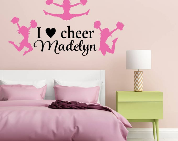 I Love Cheer Personalized Cheerleading Wall Decal Sports Wall Decal Cheerleading Wall Decor Teen Girl Room Decor Cheerleader Decal