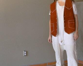 Vintage Suede Western Vest | Southwestern Leather Vest