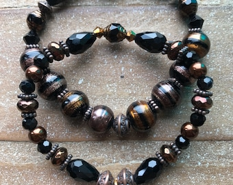 Black & Bronze Bracelet Duo