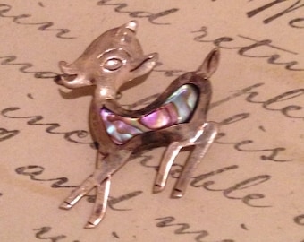 Vintage Sterling & Abalone Shell Small Deer Pin/Brooch-Taxco Broche