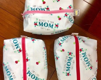 """Mother's Day Mom's bag, toiletry bag, travel bag with zipper 6""""x 9"""" x 3""""great for keys, phone and wallet than under the beach towel!"""
