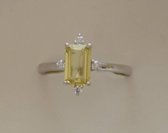 Yellow sapphire engagement ring. 14k white gold diamond ring. 1.35ct Champagne emerald sapphire ring by Eidelprecious