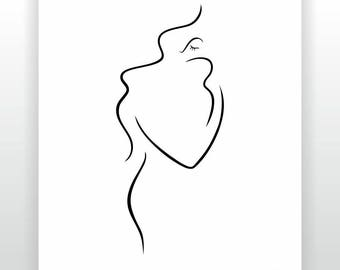 Small and large art prints. Mother with baby drawing. Minimalist line art sketch. Black and white illustration. Gallery wall ideas.