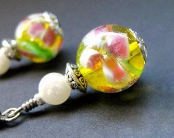 Floral Beaded Earrings Yellow Lampwork - Peony Sunshine. Handmade Earrings.