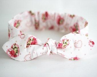 "Hearts and Roses, Baby Bow Headband, baby girl headband, pink bow, baby knot headband, newborn, ""Heart"", baby bows, headbands for baby"