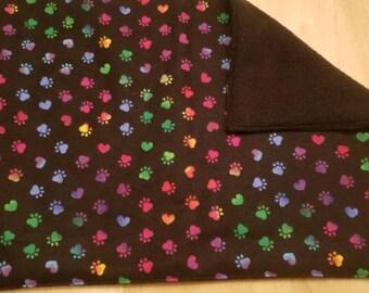 Rainbow Pawprints and Hearts Catnip Blanket