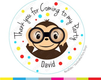 Curious Monkey Stickers, thank you, Thanks for coming to my Birthday Party. Curious George Inspired, PRINTED round Stickers, Labels A981
